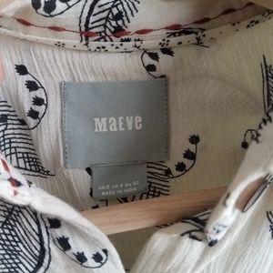 Anthropologie Tops - Maeve Ivory Leaf Bainbridge Button Down Top Size 0